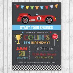 Race Car Birthday Invitation Car Invite Race by funkymushrooms