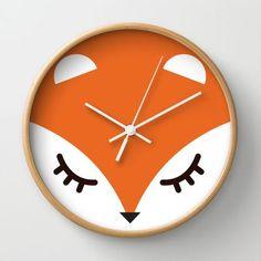 Fox minimal Wall Clock by gabriela - $30.00