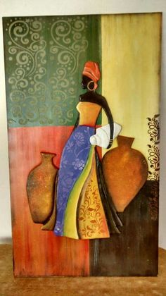 Africana Art Painting, Dot Painting, Africa Art Design, Clay Wall Art, Mural Art, African Art Paintings, Canvas Painting, Africa Art, Art Hobbies