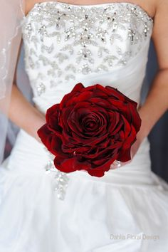 Giant red rose bridal bouquet made by Dahlia Floral Design