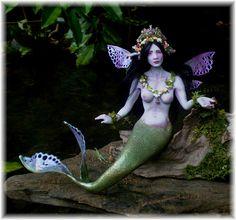 A Beautiful Mermaid Goddess Sprite Fairy Faery Elemental by Celia Harris OOAK pure sculpt art doll