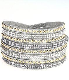 caripe Damen Armband Wickelarmband Glitzer Steine viele Designs + Farben - strala (Modell 2 - silber) - http://schmuckhaus.online/caripe/modell-2-silber-caripe-damen-armband-glitzer