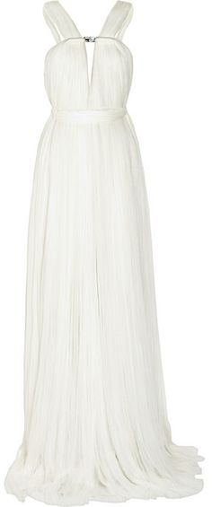 Lanvin Ruched silk-blend tulle gown #bridal