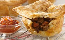 Chunky beef pies with flaky pastry will become a family favourite when served with a delicious homemade tomato ketchup. A budget-busting meal with bite.
