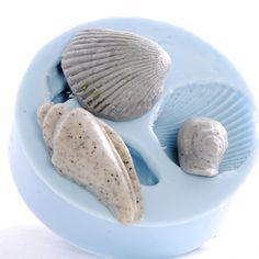 Sea shell Mold - Three shells - resin mold - pmc mold - polymer mold - clay mold - flexible silicone mould. $6.00, via Etsy.