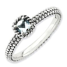 Sterling Silver Textured Band White Topaz Solitaire Ring  Size 9 ** Be sure to check out this awesome product.