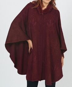 Take a look at this Burgundy Cape-Sleeve Coat by Bacci on #zulily today! $40 !!