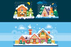 Nice Winter Day and Night Landscapes - Illustrations