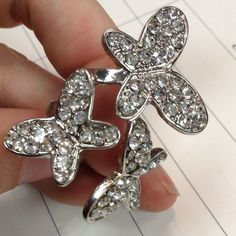"""PLEASE BUNDLE❣️Rhinestone Butterfly Cocktail Ring Excellent condition. No tarnishing. Costume funky collectible piece. Insect lovers. Great birthday gift. Sparkle. Shimmer, shine. Wings. Fairy princess may enjoy wearing this glamorous piece. Flutter. Fly. 1.5"""" long Nordstrom Jewelry Rings"""