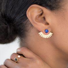 Ailes de lapis oreille / oreille vestes / oreille poignets / oreille or poignets / Lanie Lynn Vintage inspirée des bijoux / Edgy boucles d'oreilles Lapis / interchangeables boucles d'oreilles / on Etsy, 109,50 $ CAD