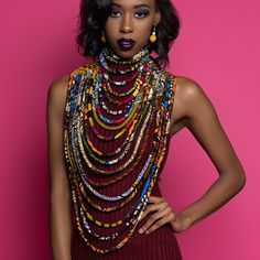 Long Ankara/Kente Necklace