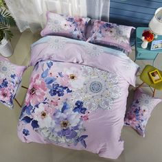 2017 Bohemian Quilt Cover Set Flower Print Bedding Sets Bedlinen Full Queen King Size for Kids Teens Adults 100% Cotton //Price: $65.76 & FREE Shipping //     #hashtag4