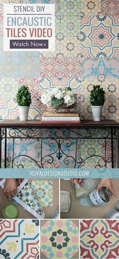 The pretty patterned look of Encaustic cement tiles is trending all over design blogs and Pinterest! This DIY tutorial shows you how to get the look yourself us…