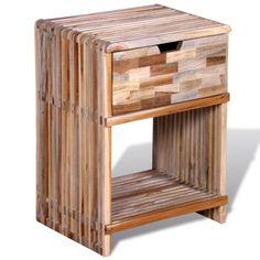 #TomTop - #TomTop Bedside Cabinet with Drawer Reclaimed Teak - AdoreWe.com