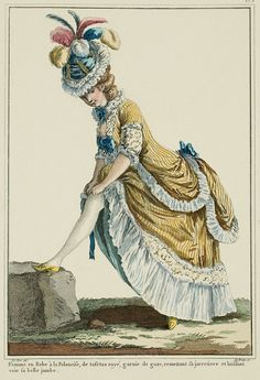 "Tambourine hat (it has been called, since this Print, the ""beautiful leg"" hat**); the edges folded up, of plain gauze like the gown trim; the crown or toque of material that matches the polonaise or the ribbon, pleated and held by three double rows of pearls, which are held up with sequined buttons"