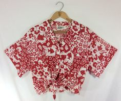 Womens+1960s+Vintage+Red+Hawaiian+Print+Button+Up+Tie+Top+size+M+by+MysticPincushion+on+Etsy $25.00
