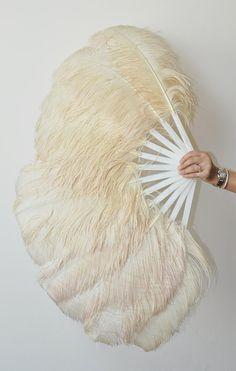 Dusty Beige Singlelayer Ostrich Feather Fan by lawrencelv on Etsy, $80.00