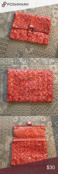 Jessica Simpson Oversized Clutch Used only a few times. Beautiful faux crocodile burnt orange clutch. Jessica Simpson Bags Clutches & Wristlets