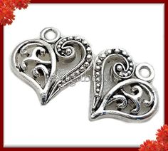20 Antiqued Silver Heart Charms 14mm x 13mm PS38 by sugabeads