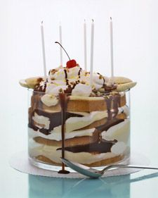 Instead of cake and ice cream, try a birthday party dessert inspired by both. This gooey trifle overflows with layers of vanilla cake, vanilla pudding, whipped cream, bananas, and drippy chocolate sauce.