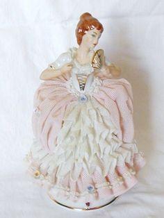 Vintage Dresden Porcelain Lady in Lace Figurine, Crown Mark, Germany   eBay
