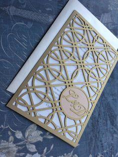Laser Cut Wedding Invitations, Monogram Art Deco Rings Invitations, Roaring 20s Custom Personalized Invitations, Die Cut