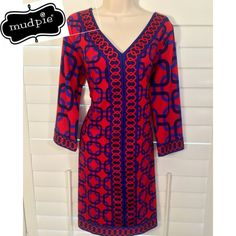 NWT• Mud Pie™• Red Langley Dress• Red Dress New With Tags. Long sleeve. V-Neck. Multi-Color. Square pattern. Made with 95% Polyester and 5% Spandex. New with Tags Mud Pie ™ Dresses Midi