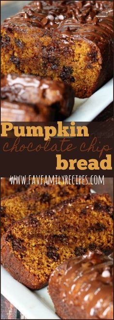This pumpkin chocolate chip bread has been a favorite in our family for years! It is perfectly dense and moist just how a good pumpkin bread should be. #pumpkin #pumpkinbread #fallrecipes #bread #chocolatechipbread #fallfavorites #favoritefamilyrecipes #favfamilyrecipes via @favfamilyrecipz
