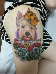 This dog is the king of his castle, tattoo by Erin Chance
