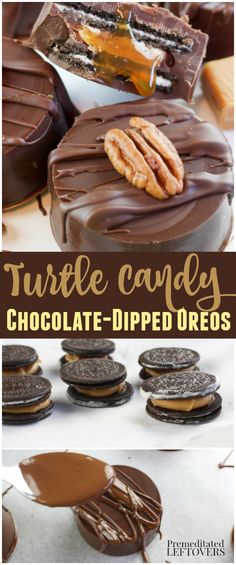 Turtle Candy Chocolate Dipped Oreos Recipe with caramel and pecans. This is a delicious dessert recipe for a food gift or a delicious treat to give as a hostess gift.