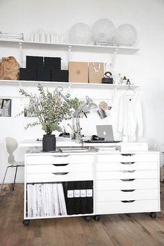 57 Trendy Home Office Furniture Ikea Alex Drawer Small Home Office Furniture, Ikea Home Office, Home Office Layouts, Home Office Storage, Office Spaces, Office Ideas, Ikea Office Hack, Cheap Office Decor, Office Rug