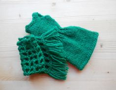 Barbie clothes,green hand knitted and crocheted Barbie dress and matching shawl,sleeveless dress for Barbie fashion doll, Barbie outfit