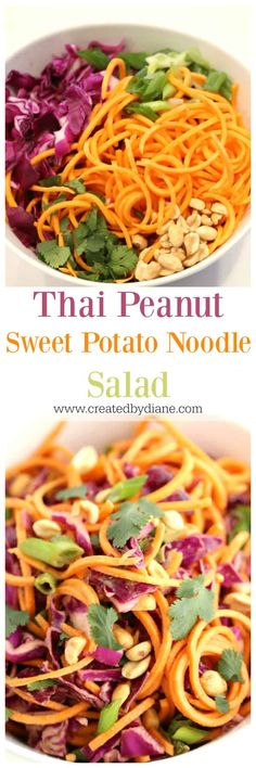 Thai Peanut Sweet Potato Noodle Salad www.createdbydiane.com