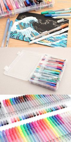 Really need to get my hands on a set like this Stationary Supplies, Art Supplies, Stationary School, School Stationery, Stylo Art, Hight Light, Cool School Supplies, Gel Ink Pens, Gel Pen Art