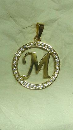 Dije letra M - 14k - letter M pendant - gold 14k