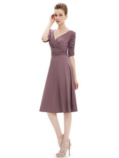 Ever Pretty 3/4 Sleeve Ruched Waist Classy V-Neck Casual Cocktail Dress - Ever-Pretty US