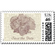 Bouquet Cream Rose Save the Date Stamp