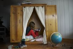 sweet nook! Just an armoire without legs, I assume.