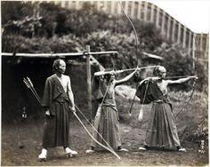 thekimonogallery: Three archers, Japan, ca.1860-1900