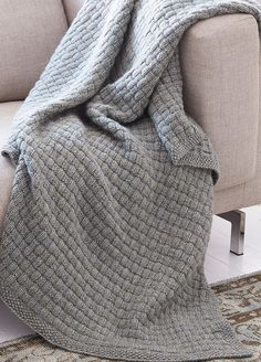 Free Knitting Pattern for Easy Tweed Blanket