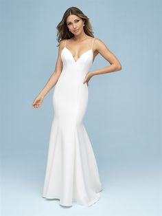 9603 Allure Bridals Wedding Dress, Matte Crepe Creates A Statuesque Effect & Softens The Back With A Statement Bow. View The Collection Online Or In Store. Wedding Dresses For Girls, Wedding Dress Sizes, Bridal Wedding Dresses, Bridal Style, Girls Dresses, Bridesmaid Dresses, Lace Wedding, Modest Wedding, Dressy Dresses