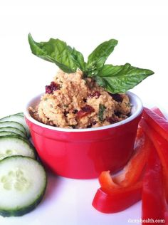 Raw Sundried Tomato and Basil Cashew Cheese*This recipe is raw, gluten free, grain free, dairy free, vegan and the perfect cheese dip! http://www.damyhealth.com/2012/08/raw-sundried-tomato-and-basil-cashew-cheese/