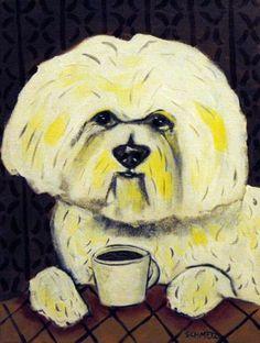 BICHON FRISE art the coffee shop cafe dog art mug 11 oz