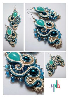 Handmade ANU Jewelry,  Soutache Earrings, blue