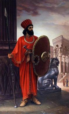 painting of Iman Maleki showing a persian warrior of the Achaemenid empire in persepolis Ancient Mesopotamia, Ancient Civilizations, Ancient Egypt, Persian Warrior, Naher Osten, Cyrus The Great, Sassanid, Achaemenid, Ancient Persian