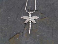 Fine Silver Dragonfly Pendant Handmade by WildSilverJewellery, £40.00