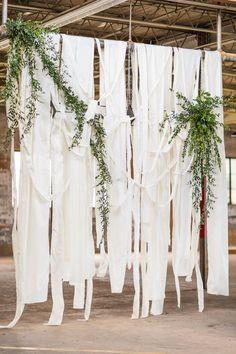 Industrial wedding ceremony backdrop