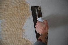 Plastered then painted burlap wall treatment. Chroma Lab: Rainbow Raindrop Bath… Plastered then painted burlap wall treatment.