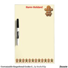 Customizable Gingerbread Cookie Cartoon Dry Erase Board