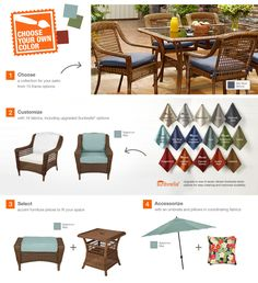 Hampton Bay Spring Haven Brown All-Weather Wicker Patio Dining Chair with Sky Blue Cushion (2-Pack)-66-2222 - The Home Depot